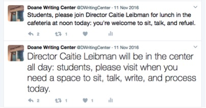 Twitter messages inviting students to open hours in the writing center.