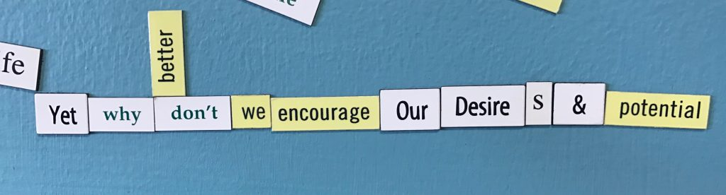 "Magnetic poetry that says ""Yet why don't we encourage Our Desires & potential."""