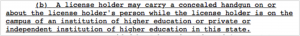 Text in a monospaced typeface describing the right to carry concealed weapons on college campuses.