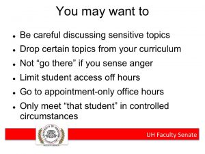 Bullet points advising faculty how to adjust behavior to avoid confrontation with gun-carrying students.