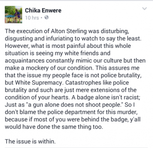A Facebook post describing a reaction to video footage of the killing of Alton Sterling.