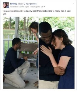 A Facebook post relaying the author's engagement. Two photos are included, one of the author's fiancé on his knee and another of the couple embracing.