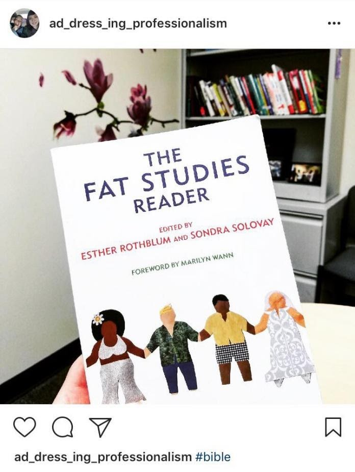 "Instagram screenshot of the book, ""The Fat Studies Reader."" Caption includes the hashtag, ""Bible."""