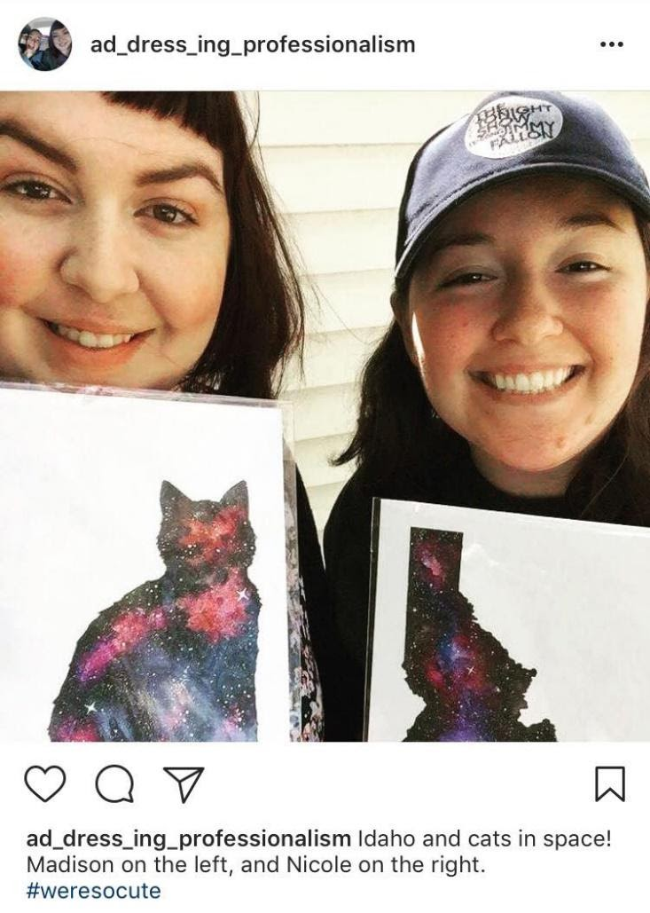 "Instagram screenshot. Caption reads, ""Idaho and cats in space! Madison on the left, and Nicole on the right. #weresocute"""