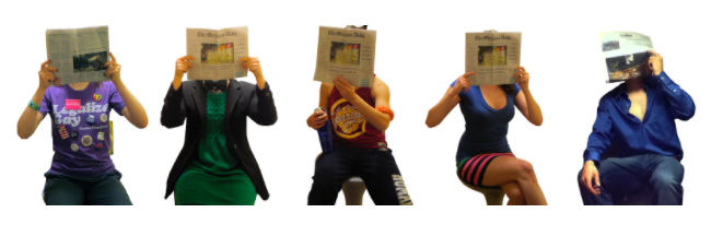 Five people, each dressed differently, and each holding a newspaper in front of their faces.