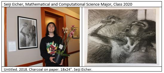 "The image on the left is of the artist, Seiji Eicher, a Mathematical and Computational Science Major, Class 2020. He is holding a pot of flowers. Over his shoulder is his painting, ""Untitled."" 2018. The image on the right is a close up of ""Untitled."""