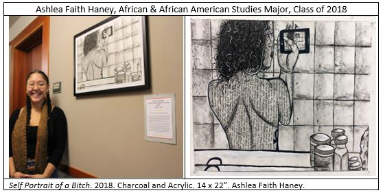 "The image on the left is of the artist, Ashlea Faith Haney. Over her shoulder is her painting, ""Self Portrait of a Bitch."" 2018. Charcoal and Acrylic. 14 x 22"". The image on the left is a close of the ""Self Portrait."""