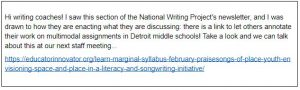 Email about the National Writing Project initiative