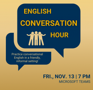 """Image 10: """"A gold-colored digital poster advertising English Conversation Hour"""""""