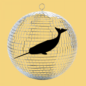 """Image 2: """"A dark narwhal and a silver disco ball on a yellow background"""""""