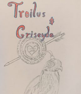 """Image 3: """"A drawing of an arrow with the text 'Troilus and Criseyde' and passages of text in Middle English"""""""