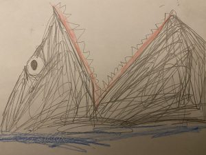 """Image 8: """"A hand-drawn picture of a shark rising out of the ocean with its mouth open"""""""
