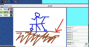 """Image 9: """"A rudimentary drawing of a blue stick figure playing in a depiction of light brown mud"""""""